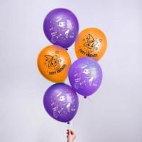 """Прочие 13-886070 Шар воздушный 12"""" Счастливого Хеллоуина (5шт., фиолетовый и оранжевый) 7003719"""