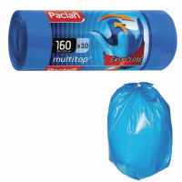 "PACLAN 134442 Мешки для мусора 160 л, с ушками, синие, рулон 10 шт., ПВД, 30 мкм, 90х125 см, PACLAN ""Multitop"", 134442"