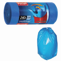 "PACLAN 134451 Мешки для мусора 240 л, с ушками, синие, рулон 10 шт., ПВД, 40 мкм, 90х145 см, PACLAN ""Multitop"", 134451"