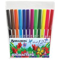 """Brauberg 150522 Фломастеры BRAUBERG """"Wonderful butterfly"""", 12 цветов, вентилируемый колпачок, пласт. упаковка, увеличенный срок службы, 150522"""