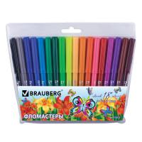 """Brauberg 150523 Фломастеры BRAUBERG """"Wonderful butterfly"""", 18 цветов, вентилируемый колпачок, пласт. упаковка, увеличенный срок службы, 150523"""