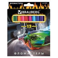 """Brauberg 150548 Фломастеры BRAUBERG """"InstaRacing"""", 12 цветов, вентилируемый колпачок, карт. упаковка, выборочный лак, увел. срок службы, 150548"""