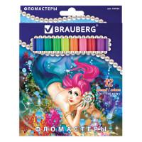 """Brauberg 150552 Фломастеры BRAUBERG """"Морские легенды"""", 12 цветов, вентилируемый колпачок, картонная упаковка с блестками, 150552"""