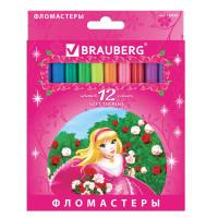 """Brauberg 150556 Фломастеры BRAUBERG """"Rose Angel"""", 12 цветов, вентилируемый колпачок, картонная упаковка, увеличенный срок службы, 150556"""