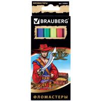 """Brauberg 150563 Фломастеры BRAUBERG """"Корсары"""", 6 цветов, вентилируемый колпачок, картонная упаковка с золотистым тиснением, 150563"""