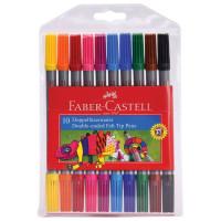FABER-CASTELL 151110 Фломастеры двусторонние FABER-CASTELL, 10 цветов, тонкая/толстая линия письма, ПВХ упаковка, 151110