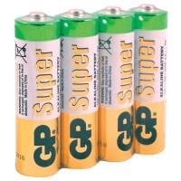 GP 15ARS-2SB4 Батарейки КОМПЛЕКТ 4 шт., GP Super, AA (LR06, 15А), алкалиновые, пальчиковые, в пленке, 15ARS-2SB4