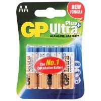 GP 15AUP-2CR4 Батарейки КОМПЛЕКТ 4 шт., GP Ultra Plus, AA (LR06, 15А), алкалиновые, пальчиковые, блистер, 15AUP-2CR4