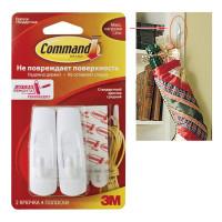 COMMAND 17001 Крючки самоклеящиеся COMMAND, КОМПЛЕКТ 2 штуки, легкоудаляемые, средние, до 1,35 кг, 17001