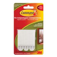 COMMAND 17201 Держатели-застежки самоклеящиеся для рамок COMMAND, КОМПЛЕКТ 3 шт., легкоудаляемые, средние, белые, до 1 кг, 17201