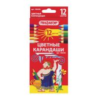 ПИФАГОР 180296 Карандаши цветные ПИФАГОР, 12 цветов, классические, заточенные, картонная упаковка, 180296