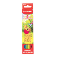 """Brauberg 180518 Карандаши цветные BRAUBERG """"My lovely dogs"""", 6 цветов, заточенные, картонная упаковка, 180518"""