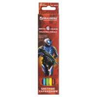 "Brauberg 180519 Карандаши цветные BRAUBERG ""Star Patrol"", 6 цветов, заточенные, картонная упаковка, 180519"