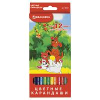 """Brauberg 180531 Карандаши цветные BRAUBERG """"My lovely dogs"""", 12 цветов, заточенные, картонная упаковка, 180531"""