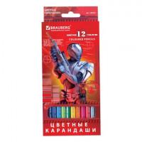 "Brauberg 180532 Карандаши цветные BRAUBERG ""Star Patrol"", 12 цв., заточенные, картонная упаковка, 180532"