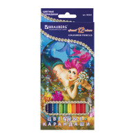"""Brauberg 180538 Карандаши цветные BRAUBERG """"Морские легенды"""", 12 цв., заточенные, картонная упаковка с блестками, 180538"""