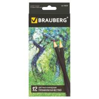 """Brauberg 180539 Карандаши цветные BRAUBERG """"Artist line"""", 12 цветов, черный корпус, заточенные, высшее качество, 180539"""