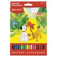 """Brauberg 180546 Карандаши цветные BRAUBERG """"My lovely dogs"""", 18 цветов, заточенные, картонная упаковка, 180546"""