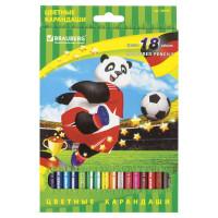 """Brauberg 180549 Карандаши цветные BRAUBERG """"Football match"""", 18 цветов, заточенные, картонная упаковка, 180549"""