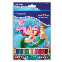 """Brauberg 180553 Карандаши цветные BRAUBERG """"Морские легенды"""", 18 цв., заточенные, картонная упаковка с блестками, 180553"""