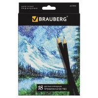 """Brauberg 180554 Карандаши цветные BRAUBERG """"Artist line"""", 18 цветов, черный корпус, заточенные, высшее качество, 180554"""