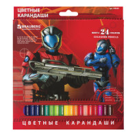 "Brauberg 180558 Карандаши цветные BRAUBERG ""Star Patrol"", 24 цвета, заточенные, картонная упаковка, 180558"