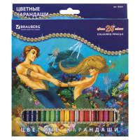 """Brauberg 180561 Карандаши цветные BRAUBERG """"Морские легенды"""", 24 цвета, заточенные, картонная упаковка с блестками, 180561"""