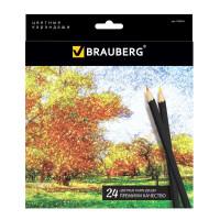 """Brauberg 180565 Карандаши цветные BRAUBERG """"Artist line"""", 24 цвета, черный корпус, заточенные, высшее качество, 180565"""