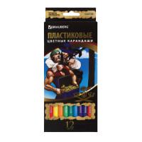 """Brauberg 180578 Карандаши цветные BRAUBERG """"Корсары"""", 12 цветов, пластиковые, заточенные, картонная упаковка, 180578"""