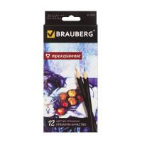 """Brauberg 180596 Карандаши цветные BRAUBERG """"Artist line"""", 12 цветов, трехгранные, черный корпус, высшее качество, 180596"""