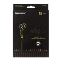 """Brauberg 180597 Карандаши цветные BRAUBERG """"Black Jack"""", 18 цветов, трехгранные, черное дерево, 180597"""