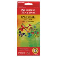 """Brauberg 181285 Карандаши цветные BRAUBERG """"Бабочки"""", набор 12 цветов, трехгранные, корпус с полосками, 181285"""