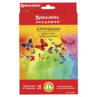 """Brauberg 181286 Карандаши цветные BRAUBERG """"Бабочки"""", набор 18 цветов, трехгранные, корпус с полосками, 181286"""
