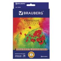 """Brauberg 181289 Карандаши цветные BRAUBERG """"Цветы"""", набор 18 цветов, трехгранные, лакированное дерево, 181289"""