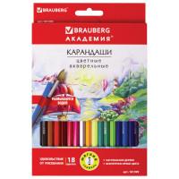 """Brauberg 181399 Карандаши цветные акварельные BRAUBERG """"АКАДЕМИЯ"""", 18 цветов, шестигранные, высокое качество, 181399"""