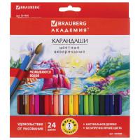 """Brauberg 181400 Карандаши цветные акварельные BRAUBERG """"АКАДЕМИЯ"""", 24 цвета, шестигранные,высокое качество, 181400"""