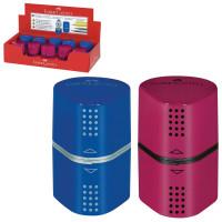 "FABER-CASTELL 183801 Точилка FABER-CASTELL ""Trio Grip 2001"", 3 отверстия, 2 контейнера, пластиковая, красная/синяя, 183801"