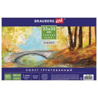 "Brauberg 190620 Холст на картоне BRAUBERG ART ""CLASSIC"", 25х35 см, грунтованный, 100% хлопок, мелкое зерно, 190620"