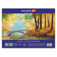 "BRAUBERG 190621 Холст на картоне BRAUBERG ART ""CLASSIC"", 30х40 см, грунтованный, 100% хлопок, мелкое зерно, 190621"