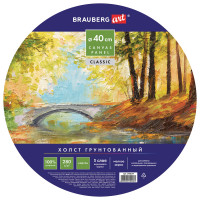 "Brauberg 190624 Холст на картоне BRAUBERG ART ""CLASSIC"", 40 см, грунтованный, круглый, 100% хлопок, мелкое зерно, 190624"