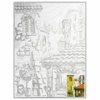 """Brauberg 190630 Холст на картоне с контуром BRAUBERG ART """"CLASSIC"""", """"Города"""", 30х40 см, грунтованный, 100% хлопок, 190630"""