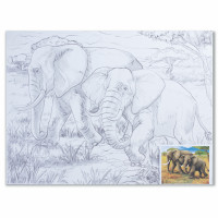 "BRAUBERG 190631 Холст на картоне с контуром BRAUBERG ART ""CLASSIC"", ""Слоны"", 30х40 см, грунтованный, 100% хлопок, 190631"