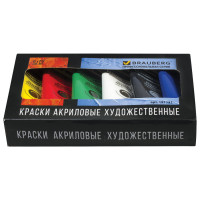 """Brauberg 191121 Краски акриловые художественные BRAUBERG ART """"CLASSIC"""", НАБОР 6 цветов по 75 мл, в тубах, 191121"""
