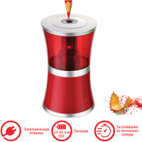 "Brauberg 223568 Точилка электрическая BRAUBERG ""STYLE"", питание от USB/4 батареек АА, красная, 223568"