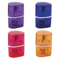 """Brauberg 226943 Точилка BRAUBERG """"Case"""" с контейнером, пластиковая, треугольная, двухсторонняя, 3 отверстия, ассорти, 226943"""