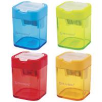 """Brauberg 226945 Точилка BRAUBERG """"Peak"""" с контейнером, пластиковая, прямоугольная, 2 отверстия, цвет ассорти, 226945"""