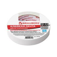 BRAUBERG 228326 Клейкая двухсторонняя лента 19 мм х 3,5 м, НА ВСПЕНЕННОЙ ОСНОВЕ, 1 мм, прочная, BRAUBERG, 228326