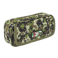 "Brauberg 228990 Пенал BRAUBERG для мальчиков, 1 отделение, органайзер, мягкий, ""Military"", зеленый, 21х5х9 см, 228990"