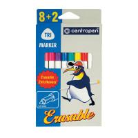 """CENTROPEN 2569/10 Фломастеры CENTROPEN """"Erasable"""", 8 цветов +2 стирающих, ширина линии 1,8 мм, стираемые, 2569/10"""