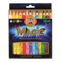 """KOH-I-NOOR 3408013001KS Карандаши с многоцветным грифелем KOH-I-NOOR, набор 13 шт., """"Magic"""", трехгранные, грифель 5,6 мм, европодвес, 3408013001KS"""
